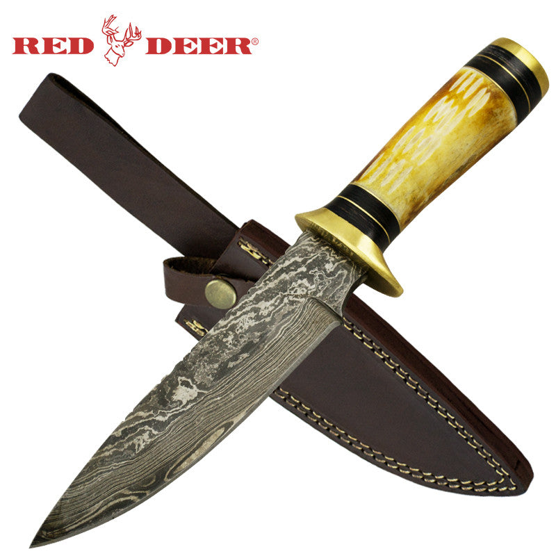 Red Deer Bone Cherokee Damascus Full Tang Knife, , Panther Trading Company- Panther Wholesale