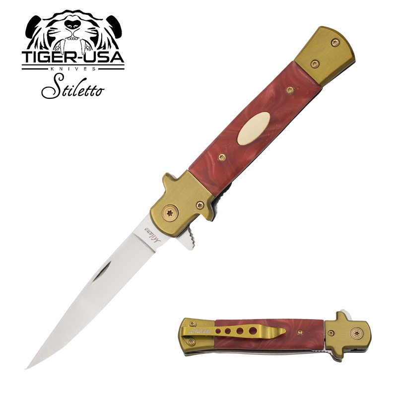 9 Inch Eurotop Stiletto knife - Red Marble, , Panther Trading Company- Panther Wholesale