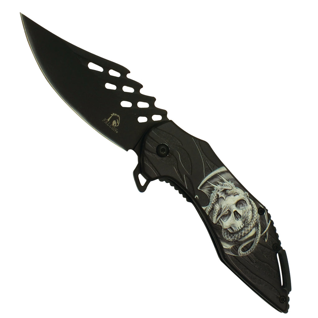 Skull Dragon Spring Assisted Pocket Knife with Two Tone Black Blade and Grooved Spine