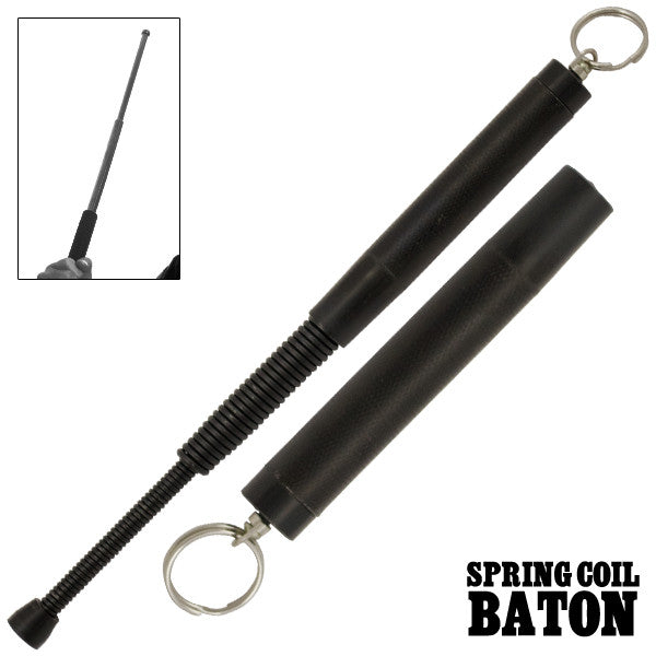 Protector Baton With Keychain Black Finish, , Panther Trading Company- Panther Wholesale