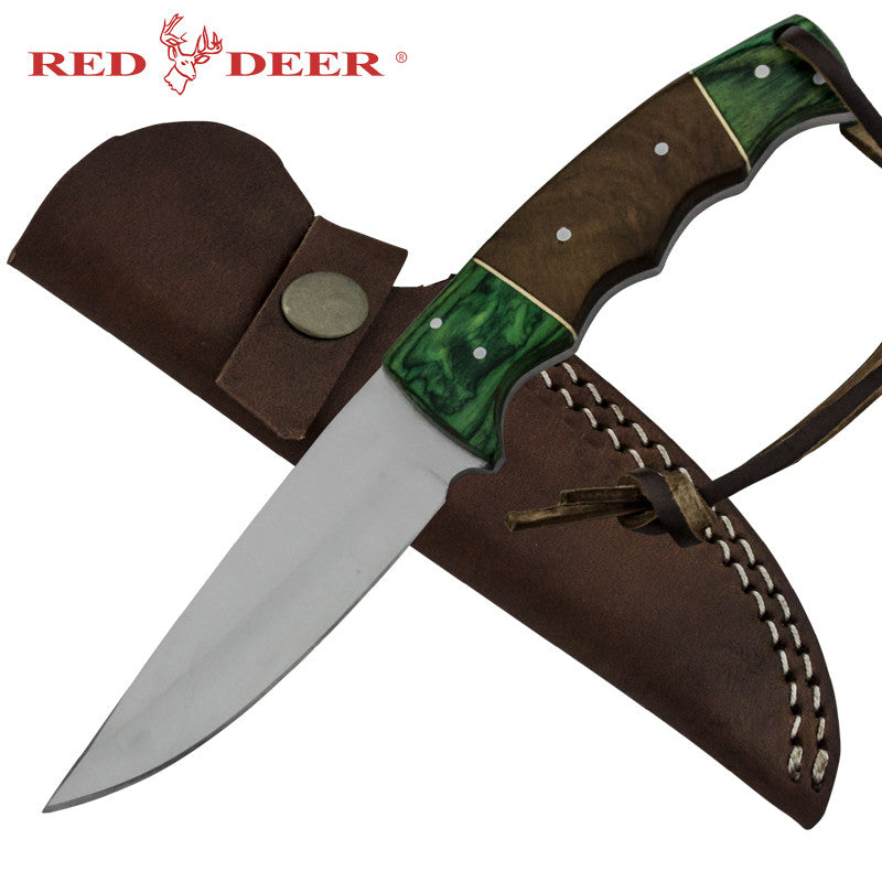 Red Deer Emerald Skinner Full Tang Pakka Wood Handle 440 Stainless Steel Genuine Leather Sheath, , Panther Trading Company- Panther Wholesale