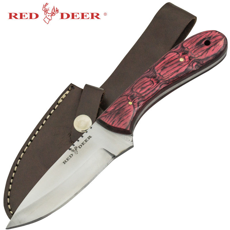 Red Deer Red Pakka Wood Handle Hunting Knife, , Panther Trading Company- Panther Wholesale