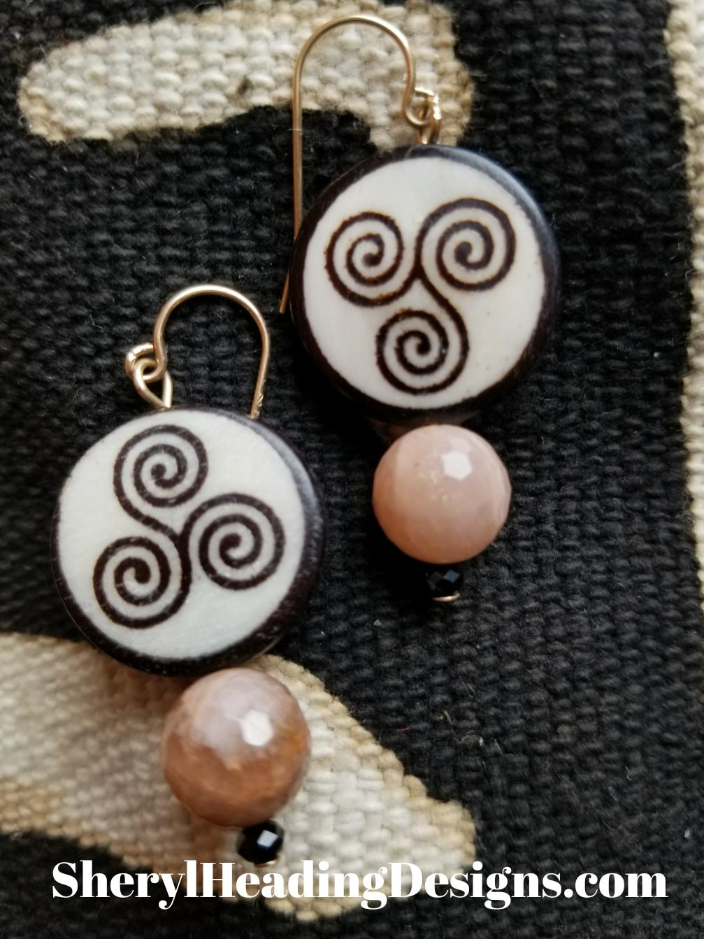 African Swirls Dangle Pierced Earrings With Faceted Semi Precious Stones. - Sheryl Heading Designs