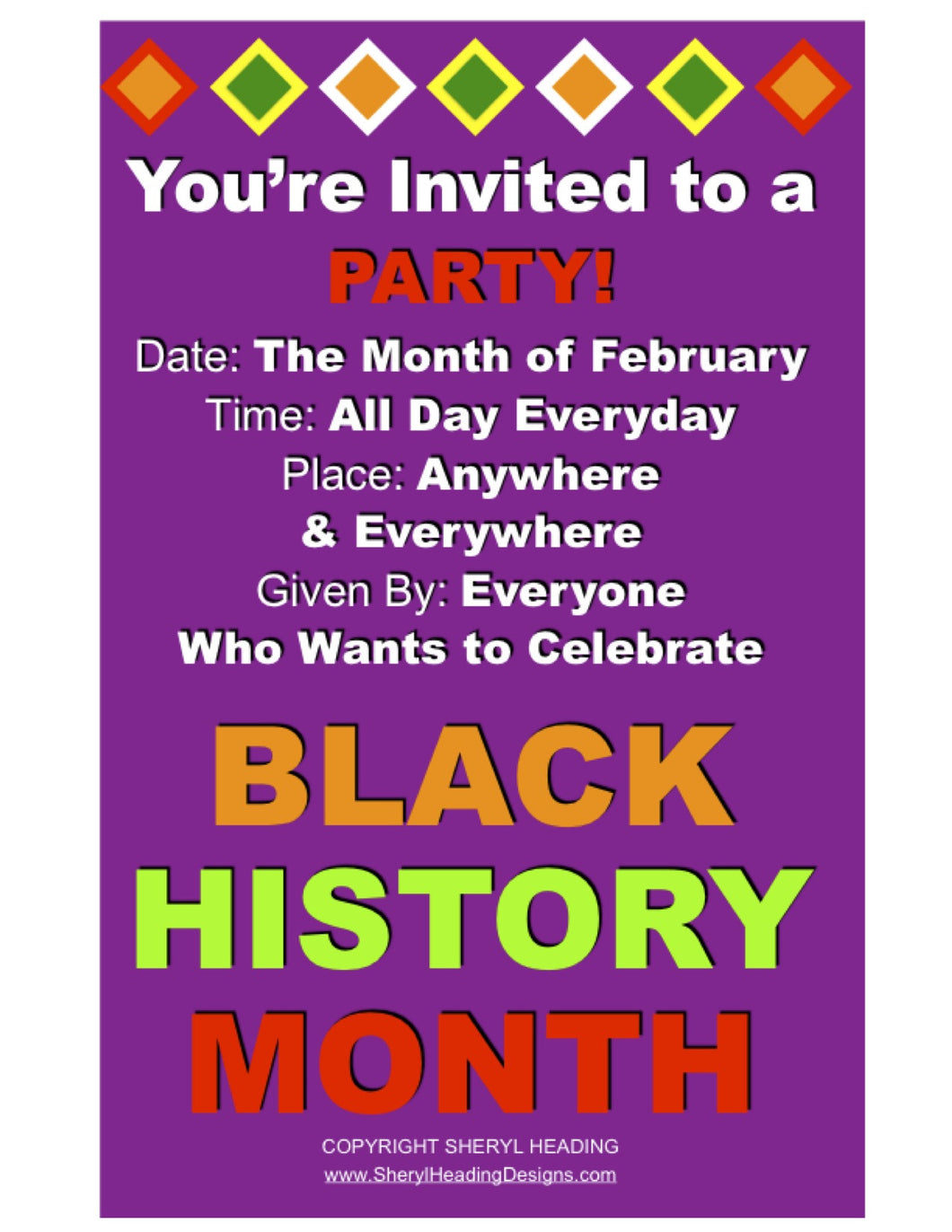 Black History Month You're Invited to a Party!  Plum, Gold Or Green Poster - Sheryl Heading Designs