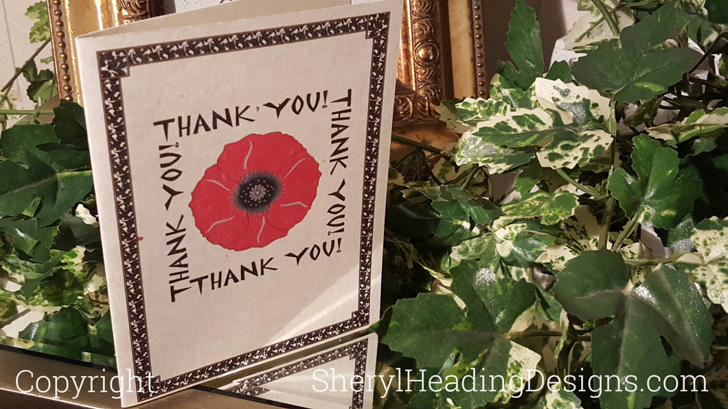Red Poppy Thank You Note Cards, Set of 10 Boxed Cards - Sheryl Heading Designs