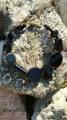 Black Onyx and Semi Precious Stones with Gold-Filled Lobster Clasp Bracelet - Sheryl Heading Designs
