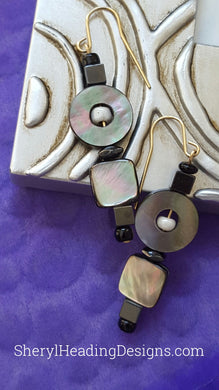 Circles and Squares in Hematite, Shell and Onyx Beads Drop and Dangle Earrings on Gold-Filled Wires - Sheryl Heading Designs