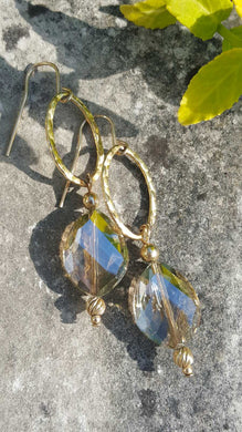 Crystal Iridescent Golden Beautiful Earrings - Sheryl Heading Designs