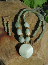 (SOLD) Ahhhh...Aventurine Brazilian Pleasure Gold Necklace and Earring Set - Sheryl Heading Designs