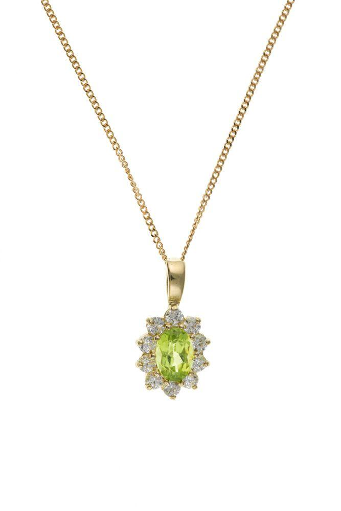 9ct Gold Peridot and CZ Cluster Pendant