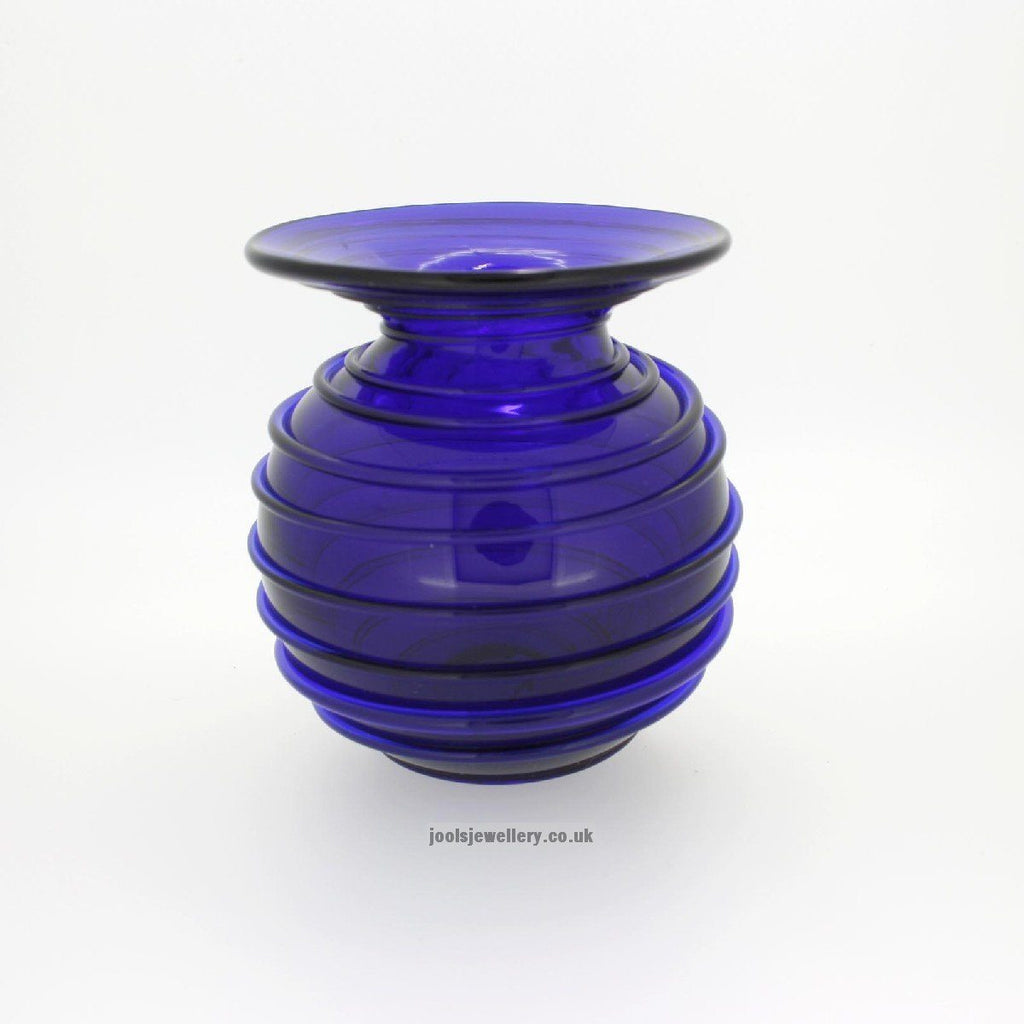 Bristol Blue Glass Small Spiral Vase