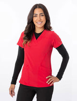 Green Town Zinnia - V-Neck Stretch Top - Red