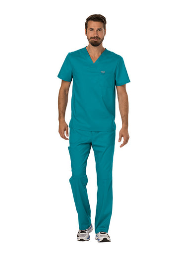 Teal Blue - Cherokee Workwear Revolution Men's V-Neck Top