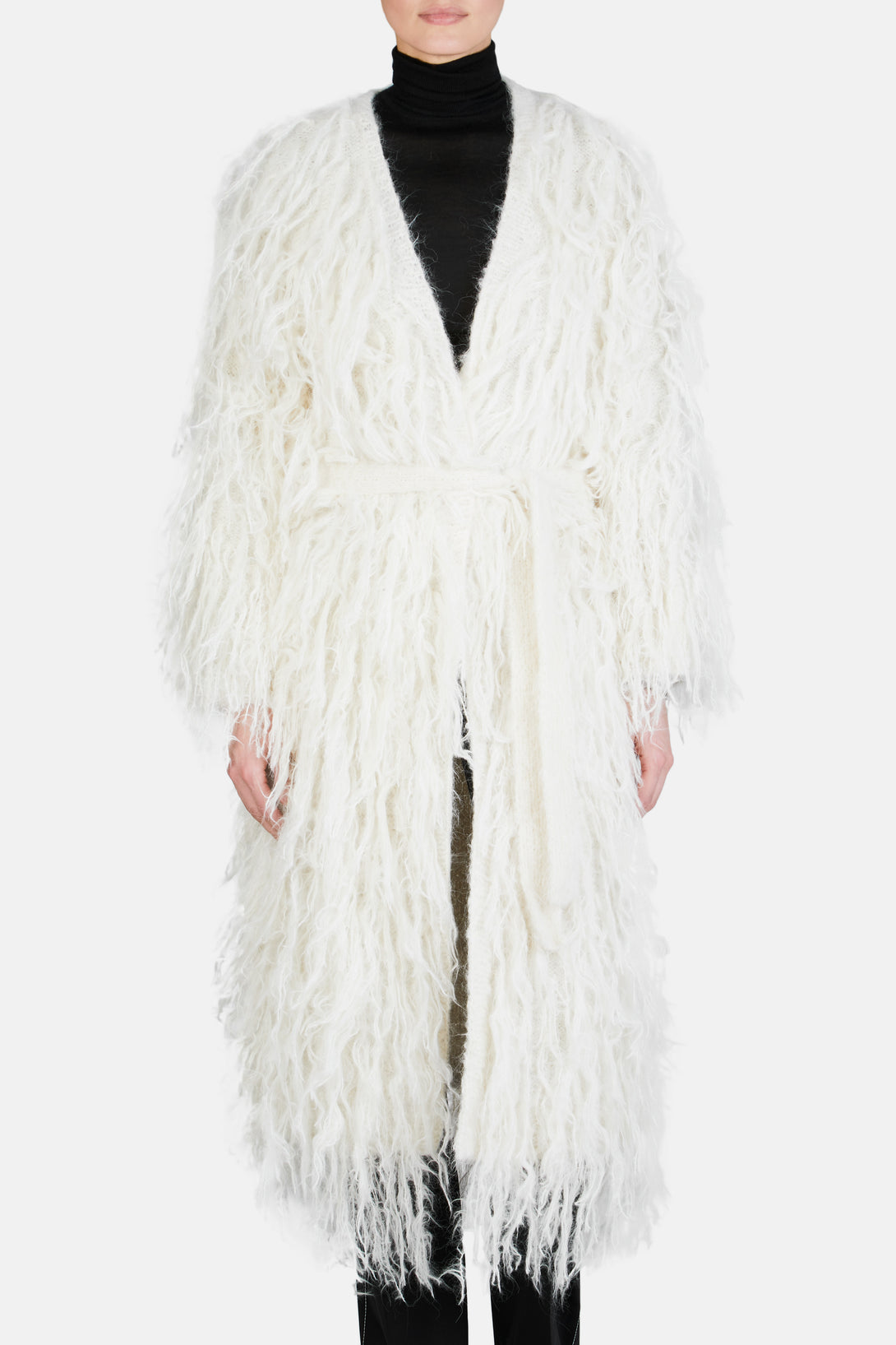Handknitted Belted Coat - Off White