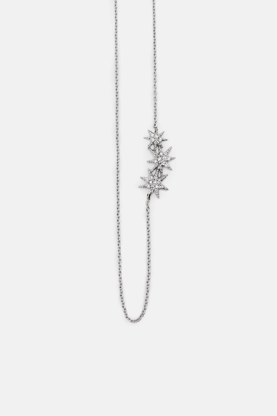 Pave Triple Shooting Star Necklace - White Gold