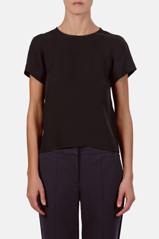 T-Shirt 02, 3-Ply Silk Georgette - Black