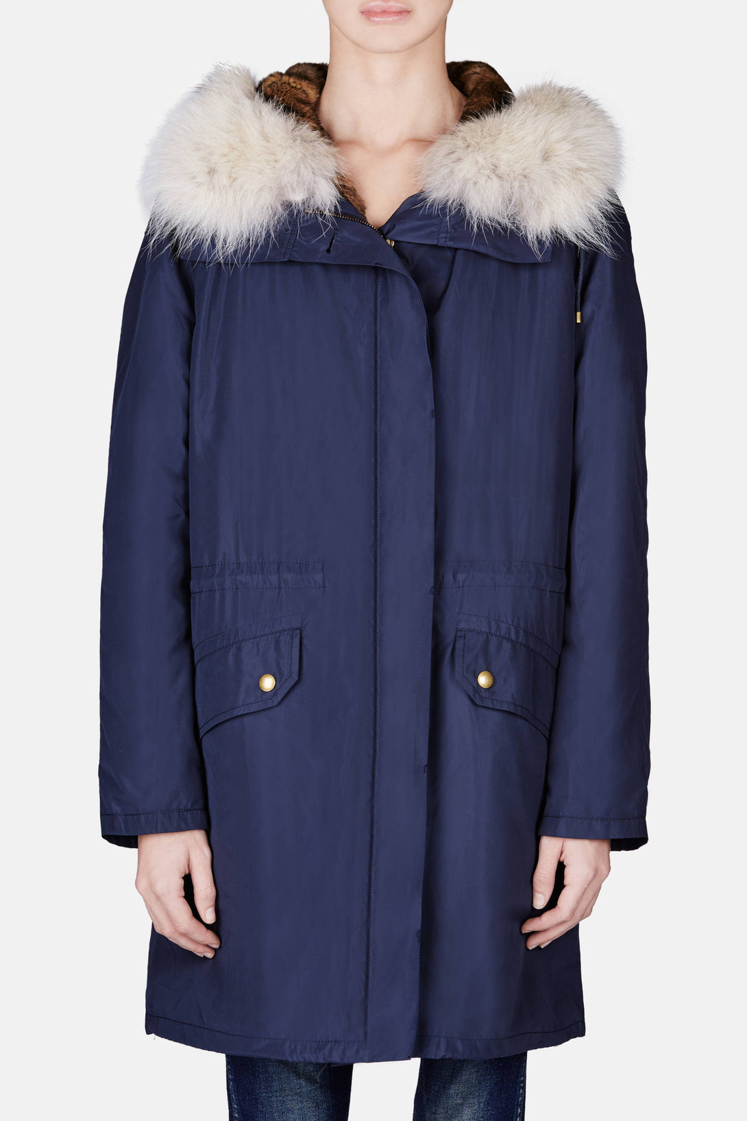 Parka with Rabbit Lining and Coyote Hood - Navy