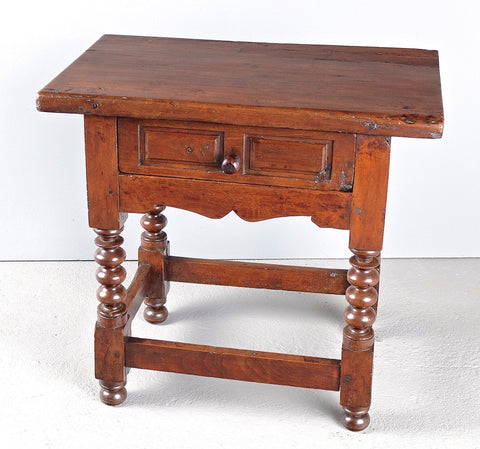 Antique mixed wood carved top lyre leg accent table with iron stretchers