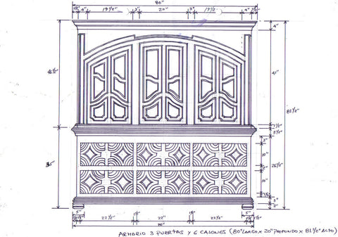Drawing of tall cabinet inspired by the smaller antique cupboard