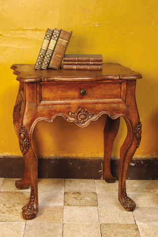Heavily-carved single-drawer reproduction library table, cachimbo hardwood