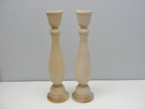 "9 1/4"" wood candle stick pair, candlestick pair, candle holders set of 2 - Wood parts - Craft Supply House"