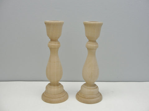 "6 3/4"" wood candle stick pair, candlestick pair, candle holders set of 2 - Wood parts - Craft Supply House"