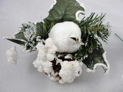 Snowy wreath picks, pomegranate and pinecone pick Set of 5 - Floral Supplies - Craft Supply House