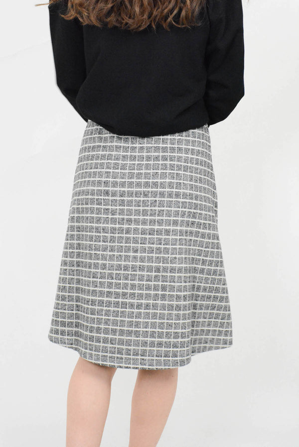 Grey Check A Line Skirt