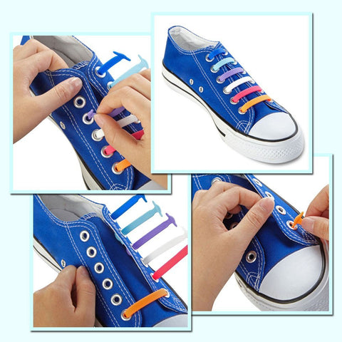 No-Tie Elastic Silicone Shoelaces 16pcs/set- Multi-Color Version-SALE