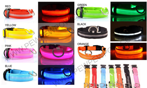 Night Safety LED Dog Collar- Flashing Glow LED- FREE+Shipping
