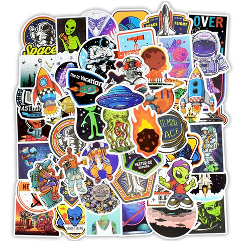 "50 PCS ""Outer Space"" theme Stickers"