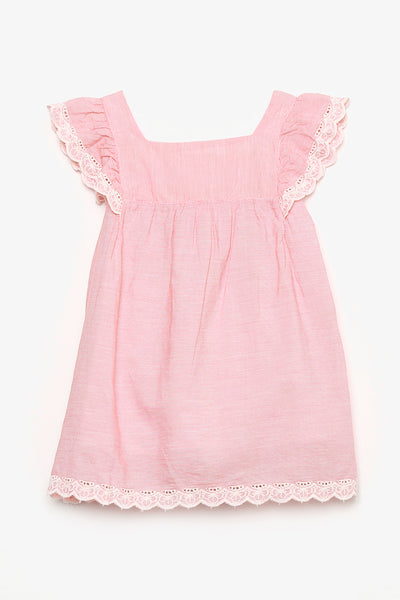 Cotton Dress with Lace