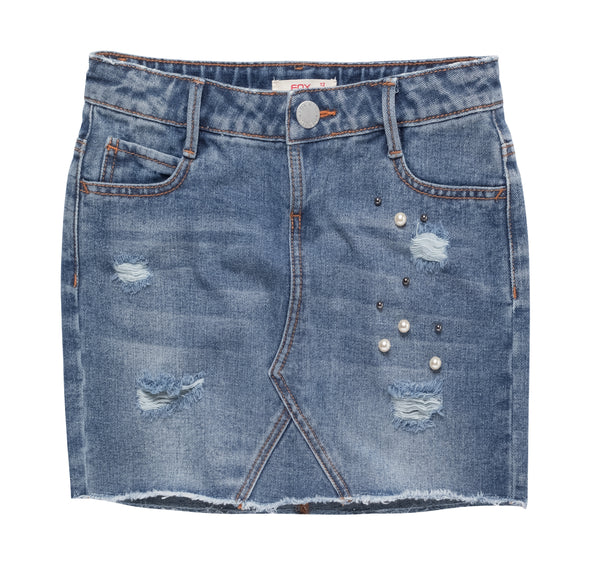Denim Skirt with Embellishment