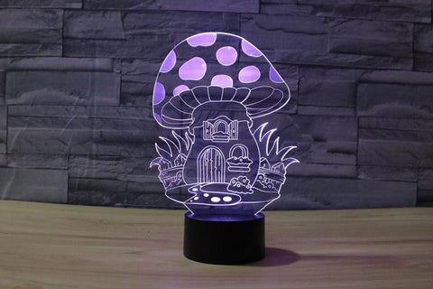 Cartoon Mushroom House - 3D LED Lamp - Lamp