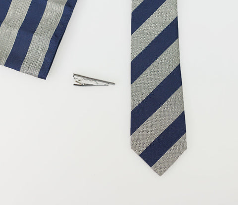 Light Grey/Navy Self Stripe Tie Set - Cavani