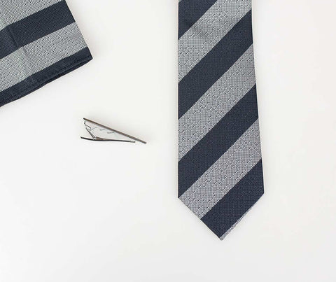 Grey on Grey Self Stripe Tie Set - Cavani