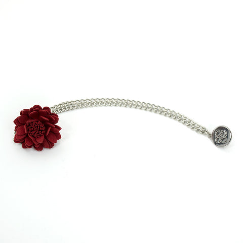 Red Lapel Flower Chain Pin