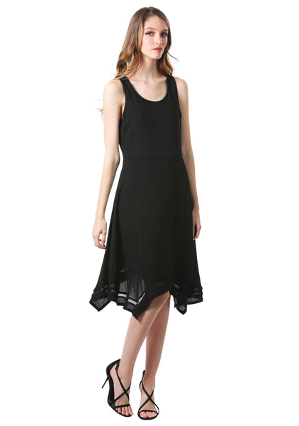 Black Handkerchief Hem Swing Dress-Little Black Dress