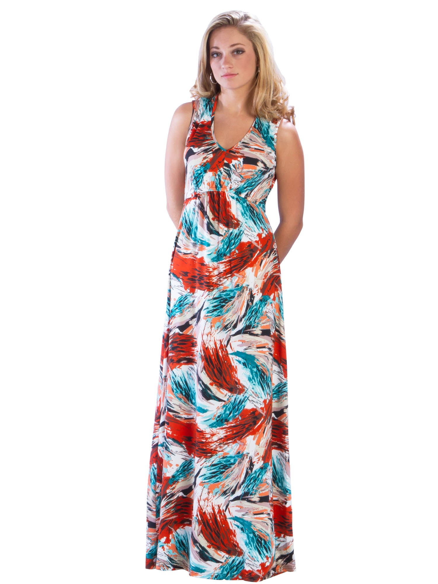 Maxi Gathered V Neck Dress