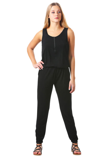Black Front Zip Jumpsuit with Pockets
