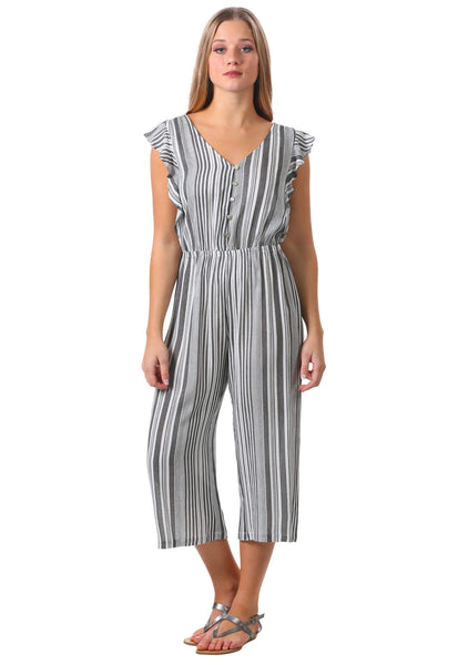 Striped Ruffle Sleeve Button Up Jumpsuit