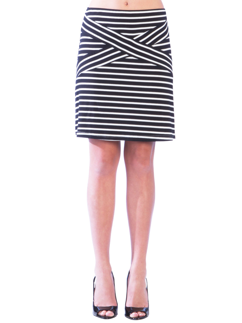 Striped Criss Cross A-Line Skirt - Black Skirt - Black and White Striped Skirt