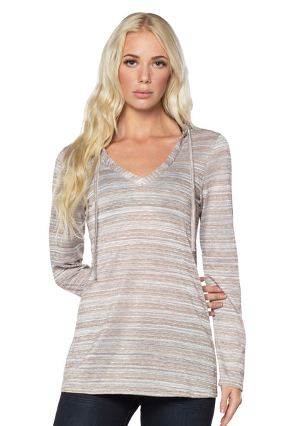 Striped Metallic Sheen Hoodie