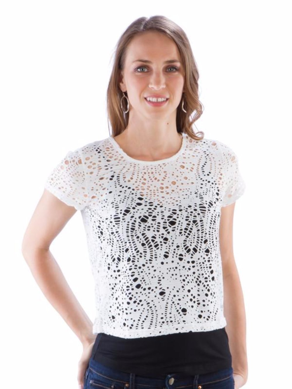 Neesha Womens Eyelet Crop Top in White