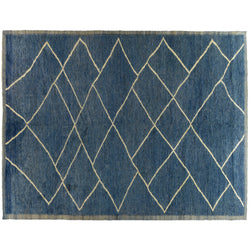 Blue Berber Design Rug with Cream Lattice