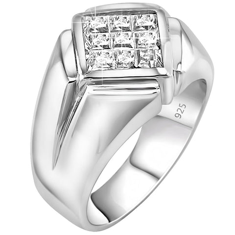 Men's Classy and Elegant Sterling Silver .925 Ring with Invisible Set Look Princess-Cut Cubic Zirconia (CZ) Stone, Platinum Plated. By Sterling Manufacturers