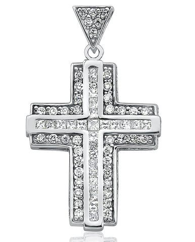 Mother's Day Gift Women's Sterling Silver .925 Cross Pendant for a Necklace with Round Channel-Set Cubic Zirconia (CZ) Stones, High Polish, Design By Sterling Manufacturers