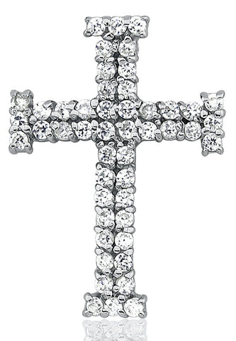Mother's Day Gift Women's Sterling Silver .925 Original Design Cross Pendant for a Necklace with Round Cubic Zirconia (CZ) Stones, High Polish, Elegant Design