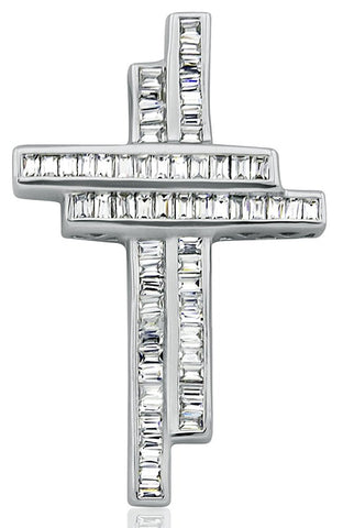 Mother's Day Gift Women's Sterling Silver .925 Double Cross Pendant Slider for a Necklace, Baguette Channel-Set Cubic Zirconia (CZ) Stones By Sterling Manufacturers