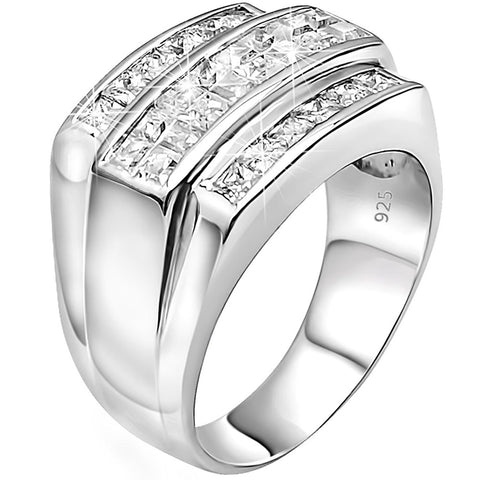 Men's Sterling Silver .925 Designer Triple 3 Row Ring Featuring Invisible and Channel Set Cubic Zirconia (CZ) Stones, Platinum Plated. By Sterling Manufacturers